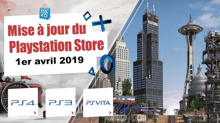 Playstation Store mise à jour du 1er avril 2019