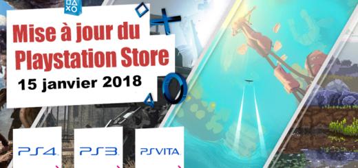 Playstation Store mise à jour du 15 janvier 2018